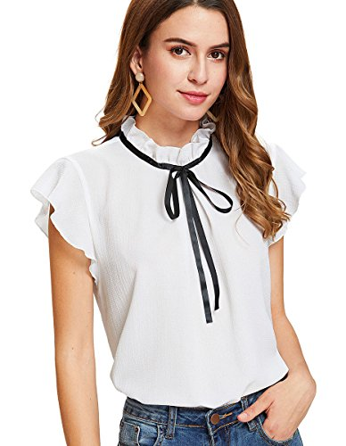 Romwe Women's Casual Cap Sleeve Bow Tie Blouse Top Shirts White L
