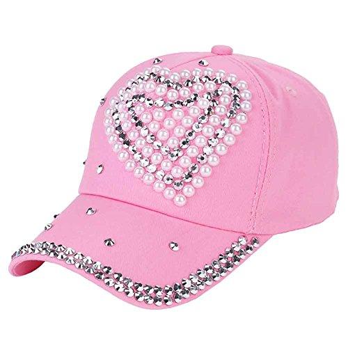 CHUANGLI Fashion Adjustable Kids GIirl Boy Bling Rhinestone Denim Baseball Cap Hat Glitter Sun Hat