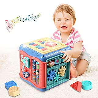 Early Learning Educational Cube Toy - Multi-function 6 in 1 Activity Center Music and Colorful Shape Sorter Baby Toys for 12-18 Month Baby Toys Gift for 1 2 3 years old Boys&Girls kids,toddler