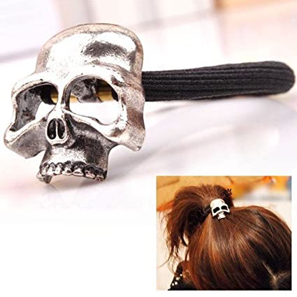 ChineOn Women Girl Gothic Punk Metal Human Skull Hair Ponytail Cuff Band Wrap Holder Tie(Silver)