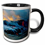 3dRose Danita Delimont - Volcanoes - Lava pouring from the earth, Kilauea Volcano, Island of Hawaii, Hawaii - 11oz Two-Tone Black Mug (mug_278919_4)