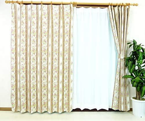 遮光カーテン 防炎機能付きオーダーカーテン [ローザ] クラシックな花ボーダー柄 ローズレッド色 幅130cm 丈180cm