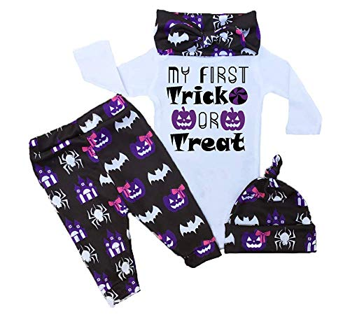 RCPATERN My First Halloween Baby Outfits Baby Girl Clothes Funny Print Long Sleeve Romper Pants with Hat and Headband Purple]()