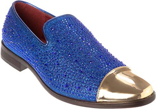 Shoes Picker sparko12 Mens Slip-On Fashion-Loafer Sparkling-Glitter Royal-Blue Dress-Shoes Size 13