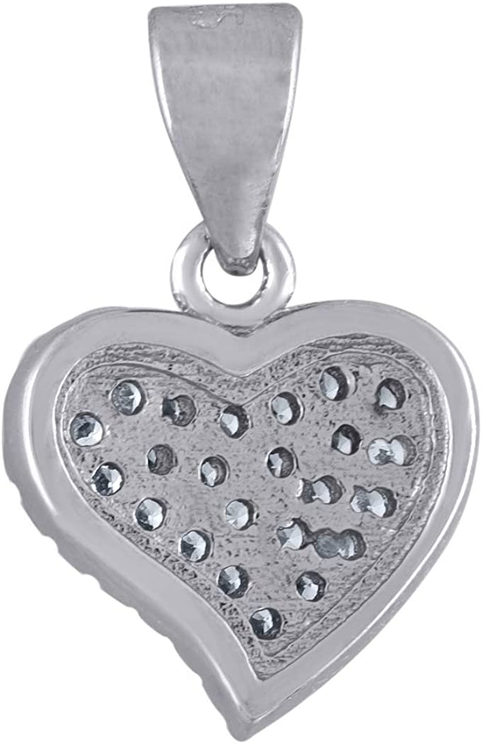 Measures 16.4x10.5mm Wide 925 Sterling Silver Womens CZ Valentine Love Heart Charm Pendant