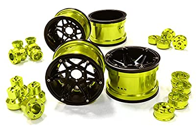 Integy RC Hobby C26523GREEN Billet Machined 6 Spoke Wheels w/ Multi Adapters for Most 2.2 Scale Rock Crawler