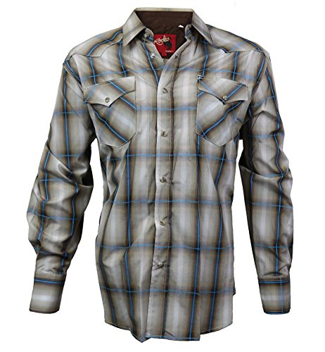 Rodeo Clothing Co. Men's Western Cowboy Pearl Snap Long Sleeve Plaid Shirt (Slim Shirt Western Snap Pearl)