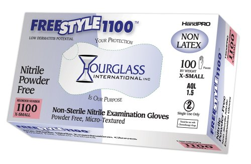 1100 Glove - Hourglass HandPRO FreeStyle1100 Nitrile Glove, Exam, Powder Free, 240mm Length, 0.06mm Thick, X-Small (Box of 100)