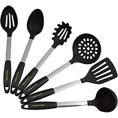 Stainless Steel & Silicone Cooking Utensil Set - Heat Resistant Professional Kitchen Tools - Spatula, Mixing & Slotted Spoon, Ladle, Pasta Fork Server, Drainer - Bonus Ebook! (Black)