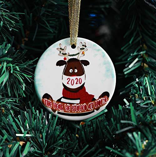 Inno-Huntz Christmas Tree Hanging Graceful Ornament Durable Ceramic Pendant Elegant Holiday Christmas Tree Decoration 2020 Celebration Décor Set (Deer)