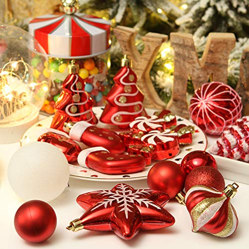Christmas Balls Ornaments 100Pcs Shatterproof Christmas Ball Set Decorative Baubles Pendants with Reusable Hand-held Gift Package for Holiday Xmas Garden Decorations Christmas Balls Ornaments Golden