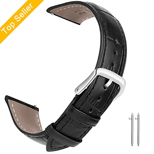 22mm Watch Bands Leather, Vetoo Quick Release Classic Genuine Leather Replacement Watch Strap Wristband for Men and Women (Black) (Genuine Leather Watch Strap)