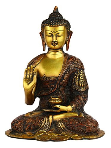 Statuestudio Chinese Tibet Gautama Buddha Brass Decorative Statue Figurine/Antique Abhaya Sitting Idol for Meditation, Peace & Protection/Nepal Traditional Siddhartha Bodhisattva Sculpture-Orange by Statuestudio