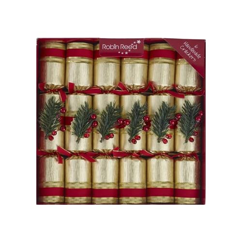 6 x 12 luxury christmas crackers champagne gold with pine decoration by robin reed
