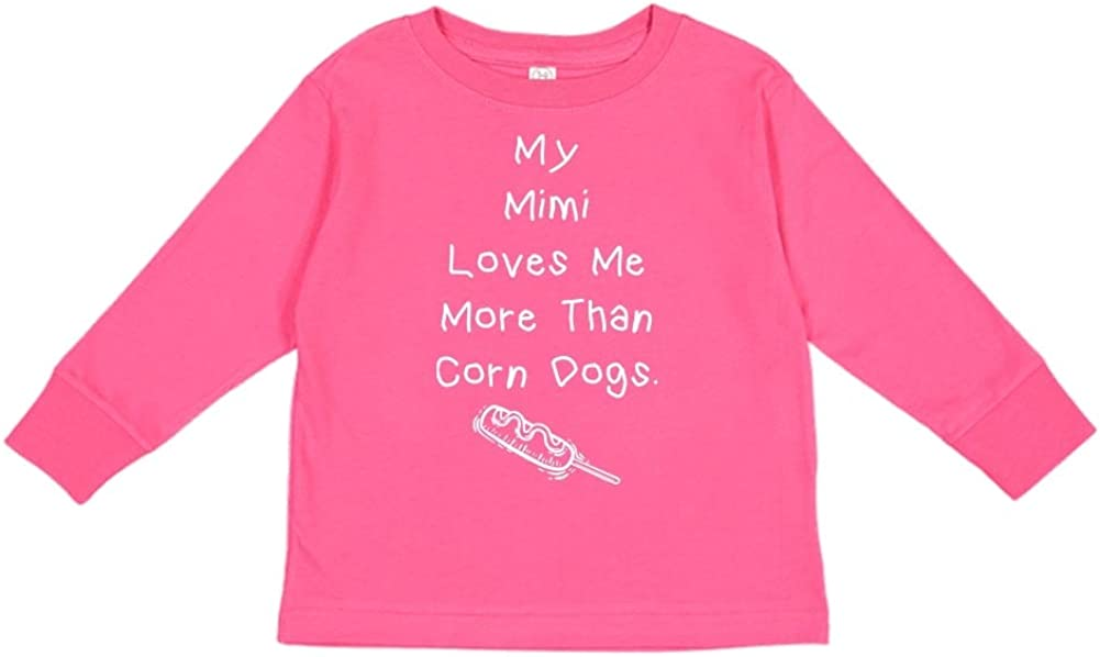 Toddler//Kids Long Sleeve T-Shirt My Mimi Loves Me More Than Corn Dogs