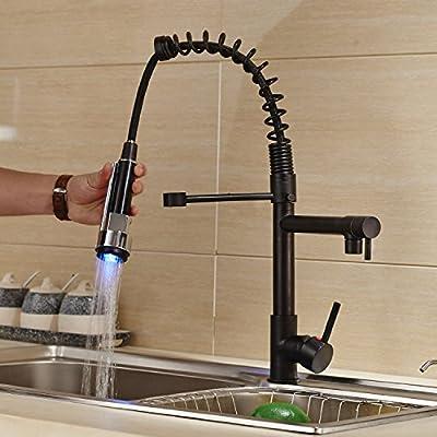 Rozin Oil Rubbed Bronze LED Light Pull Down Spray Kitchen Sink Faucet Swivel Spout Mixer Tap