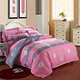uxcell® Flowers Pattern Duvet Cover Pillowcase Bedding Set Single Size Pink