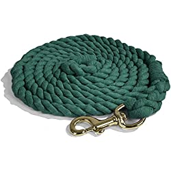 Intrepid International Heavy Duty Cotton 10 Foot Lead Rope with Brass Snap, Hunter Green