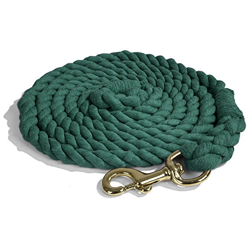 - Intrepid International Heavy Duty Cotton 10 Foot Lead Rope with Brass Snap, Hunter Green