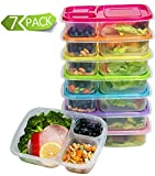 : Meal Prep Containers 3-Compartment Lunch Boxes Food Storage Containers with Lids, BPA Free Plastic Bento Box Set of 7,Portion Control Divided Cover,Reusable