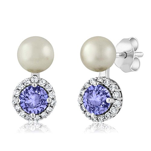 Gem Stone King 1.22 Ct Blue Tanzanite Cultured Freshwater Pearl 925 Sterling Silver Earrings