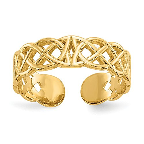 Jewelryweb 14k Yellow Gold Solid Polished Celtic Irish Adjustable Toe Ring (4mm wide)