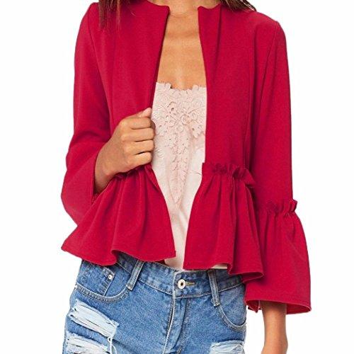 NEW,AIMTOPPY Women Ruffle Frill Long Sleeve Open Front Coat Blazer Peplum Crop Jacket (XL, (Nautical Crop)