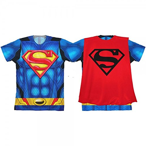 Bioworld DC Superman Caped Costume Tee, Youth (Medium (8))