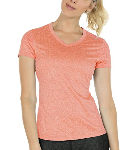 icyzone Workout Shirts Yoga Tops Activewear V-Neck T-Shirts For Women Running Fitness Sports Short Sleeve Tees (S, Peach Heather)