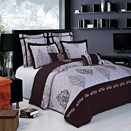 high-quality 8PC King/Cal-King Gizelle Comforter Set including Down-Alterntive Comforter By Hotel Collection