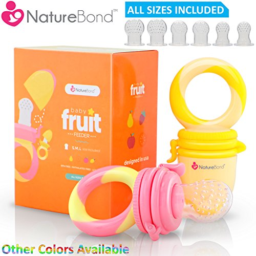 NatureBond Baby Food Feeder / Fruit Feeder Pacifier (2 PCs) - Infant Teething Toy Teether in Appetite Stimulating Colors | Includes 6 PCs All Sizes Silicone Sacs