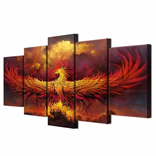 5 Piece Painting on Canvas Burning Phoenix Drawn in Heraldic Style Wall Art Vintage Pictures Print For Home Decor Framed for Living Room Giclee Framed Hooks Stretched Ready to ()