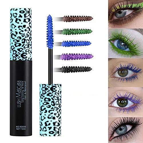 5 Colors 4D Silk Fiber Color Mascara, Female Long-lasting Curling Mascara, Waterproof Thickening And Lengthening Mascara (Blue)