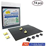 Multi-Use Adhesive Magnets by Jack Chloe,1 Magnetic Strips of 74 Magnetic Squares of 2 Different Sizes, Heavy Duty Magnets with Self Adhesive Backing, Magnetic Tape for Refrigerator and DIY Project