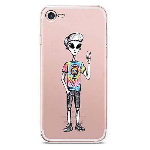 iPhone 8 Plus Case, JICUIKE Cool Alien star Clear TPU Soft Shell Rubber Silicone Skin Covers Transparent Color Printing Bumper Back Cover for iPhone 7 plus, 5.5 inch [Star - Skin Color Cool