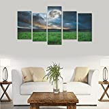 Hotel or Spa Personalized Design Moon Grass mood of night fantasy Canvas Print Home Fashion Mural Bedroom Oil Painting Decoration 5 Piece Canvas painting (No Frame)