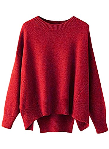 (futurino Women's Crew Neck Solid Long Drop Sleeves Loose Knit Pullover Sweaters (one Size, Chrismas Red))