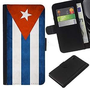 """Be-Star la tarjeta de Cr¨¦dito Slots PU Funda de cuero Monedero caso cubierta de piel Para Sony Xperia Z3 Plus / Z3+ / Sony E6553 (Not Z3) ( Bandera nacional de la Serie-Cuba"""" )"""