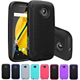 Moto E (2nd Gen) Case, LK [Shock-Absorption] Hybrid Dual Layer Armor Defender Protective Case Cover for Motorola Moto E (2nd Generation) (Black)