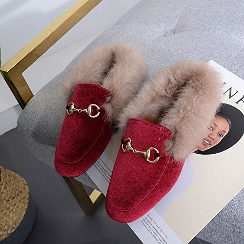 round Fashion Half Slippers Woolen Shoes with low Heels with Shoes , red , EUR36.5
