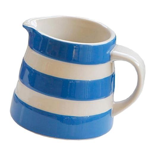 Apto Para Lavavajillas Cerámica Raya Blanca Y Azul Café Leche Taza ...