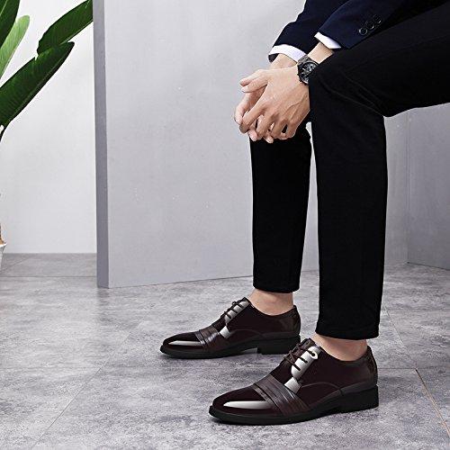 Lacets Formelle Hommes Uniformes Respirant Chaussures Mariage Été Chaussures Pointu Brown Casual Cuir Véritable Bout à Classique Noir Derby Entreprise dp0wxI0q