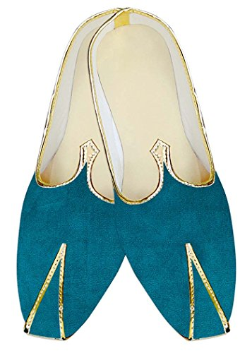 INMONARCH Azulado Boda Boda MJ13963 Verde Hombres Terciopelo Mocasines de Zapatos de 6q7wCr6x