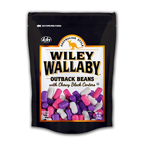 Black Licorice Calories (Wiley Wallaby Australian Style Outback Beans with Chewy Licorice Centers, Fat Free, Low Calorie, Low Sugar, Kosher, Vegan, 10 oz Resealable Bags, 4 Count (Black Licorice))