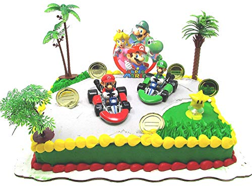 Digimon Racing - MARIO BROTHERS MARIO KART Racing Themed Birthday Cake Topper Set Featuring Figures and Decorative Themed Accessories