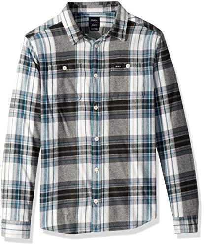 RVCA Men's Ludlow Flannel Long Sleeve Woven Button UP Shirt, Antique/White M