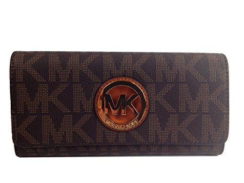Michael Kors Signature PVC Fulton Flap Wallet in - Wallet For Women Michael Kors