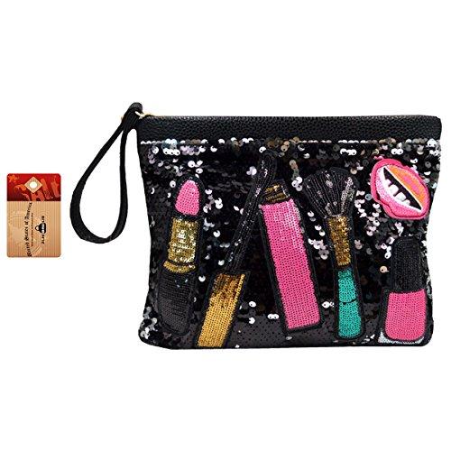 Sequin Clutch Purse - ZLM BAG US Women Fashion Sequin Evening Clutch Girl Dazzling Patchwork Envelope Handbag Chain Shoulder Crossbody Bag Black