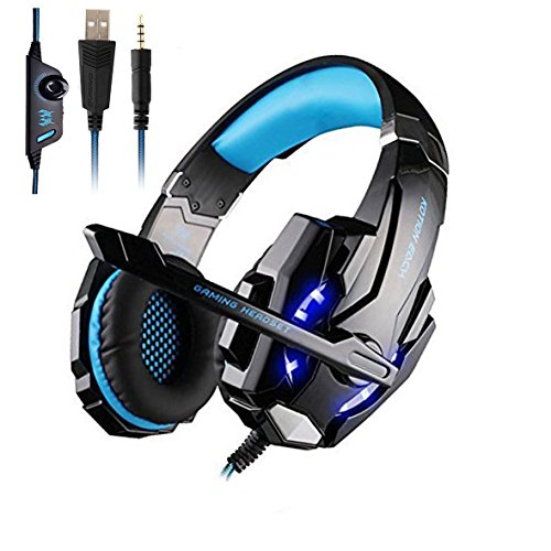 AWON Gaming Headset for PS4, PC, Xbox One Controller, Noise Cancelling Over Ear Headphones with Mic, LED Light, Bass Surround, Soft Memory Earmuffs for Laptop Mac Nintendo Switch Games