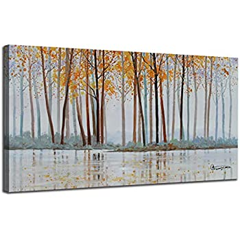 Canvas Wall Art Birch Trees Branches Landscape Yellow Painting Watercolor Picture Poster Prints, Modern One Panel 48